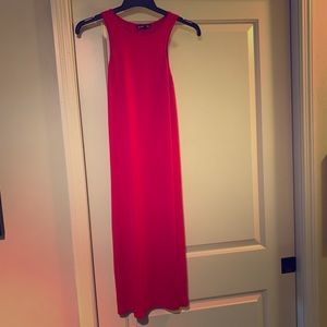 Mid length bright red body con dress. Lightly worn
